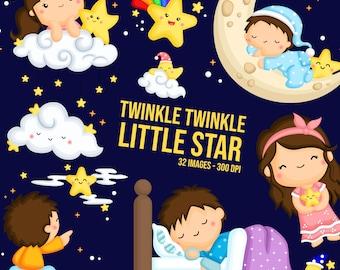 Twinkle Twinkle Little Star Clipart - Cute Story Clip Art - Nursery Rhymes - Free SVG on Request