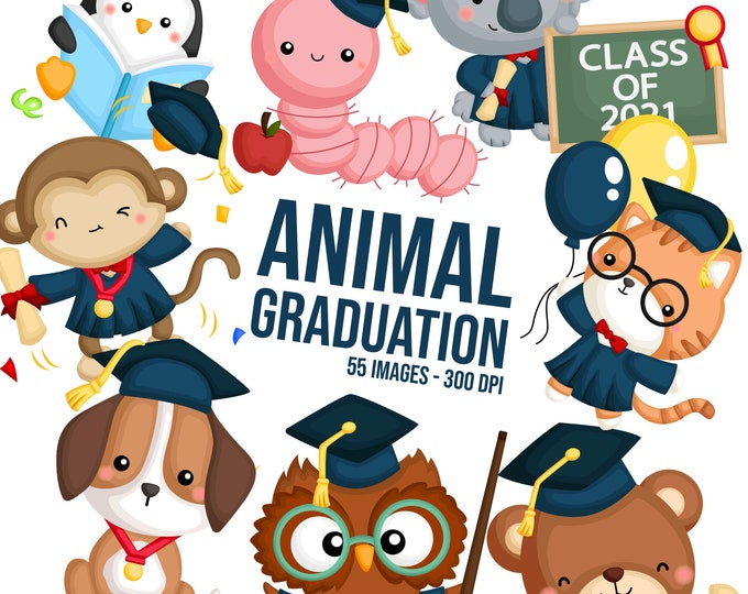 Featured listing image: Student and Graduation Clipart - School and University Clip Art - Cute Animal Clipart - Free SVG on Request