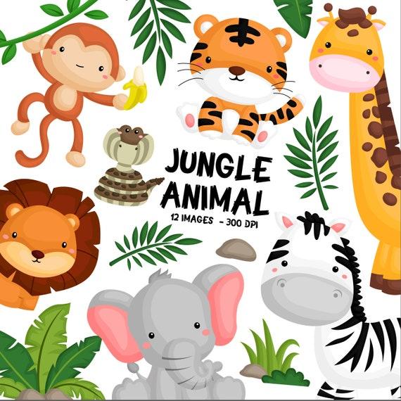Jungle Animal Clipart Cute Animal Safari Clipart Svg Etsy