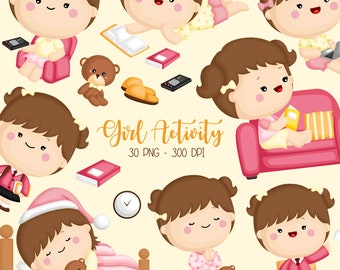 Girl Activity Clipart - Cute Kid Clip Art - Relaxing and Fun - Free SVG on Request