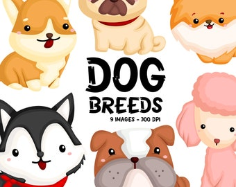 Dog Breeds Clipart - Cute Dogs Clip Art - Home Pet - Free SVG on Request
