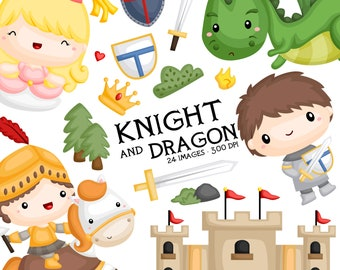 Knight and Dragon Clipart - Prince and Princess Clip Art - Fairytale - Free SVG on Request