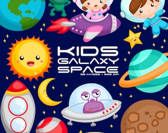 Galaxy and Space Clipart - Space and Exploration Clip Art -Planet and Rocket-  Free SVG on Request