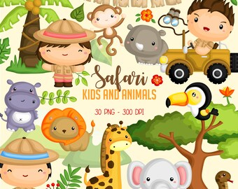 Safari Kids and Animal Clipart -  Jungle Animal Clip Art - Cute Animal -  Free SVG on Request
