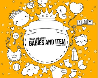 Cute Babies Clipart - Babies and Items - Black and White - Free SVG on Request