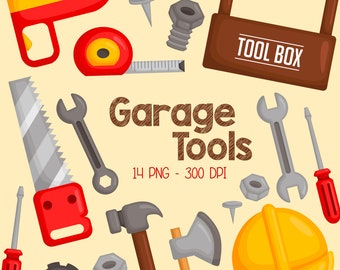 Garage Tools Clipart - Toolbox Equipment Clip Art - Home Repair - Free SVG on Request