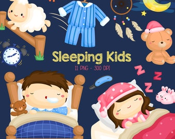 Sleeping Kids Clipart - Cute Kid Clip Art - Dream and Sleep - Free SVG on Request