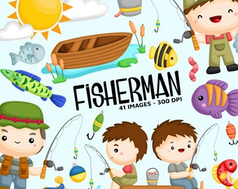 Fisherman Fishing Clipart - Cute Kids Clip Art - Activity - Free SVG on Request