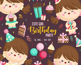 Cute Birthday Girl Clipart - Birthday Party Clip Art -  Cute Kids - Free SVG on Request
