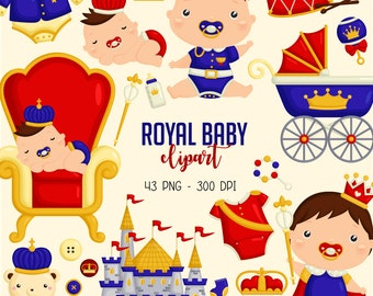 Royal Baby Clipart - Baby Boy Clip Art - Cute Kingdom Prince - Free SVG on Request