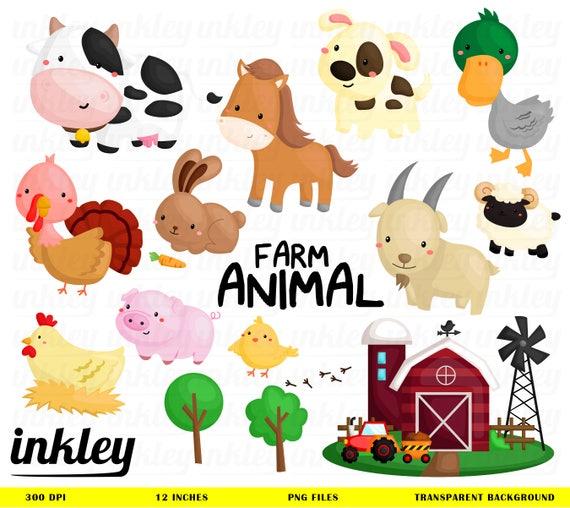 farm animal clipart farm animal clip art farm animal png etsy rh etsy com farm animal clip art pictures farm animal clipart images