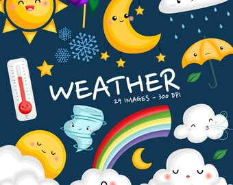 Weather Icon Clipart - Seasonal Weather Clip Art - Four Season - Free SVG on Request