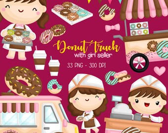 Donut Truck Clipart - Cute Kids Clip Art - Food and Snack - Free SVG on Request