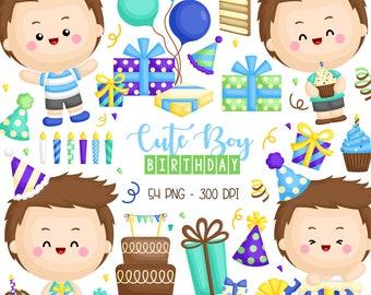 Cute Birthday Clipart - Birthday Celebration Clip Art - Cute Kids - Free SVG on Request