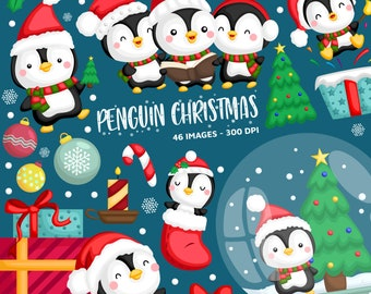 Christmas Penguin Clipart - Cute Animal Clip Art - Santa Claus - Free SVG on Request