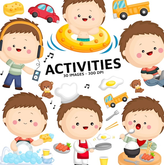 Boy Activity Clipart Cute Kid Clip Art Relaxing And Fun Etsy