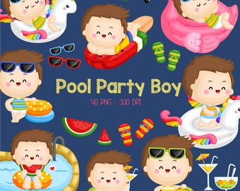 Pool Party Clipart - Cute Kids Clip Art - Summer Party - Free SVG on Request