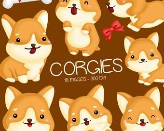 Cute Corgi Clipart - Cute Animal Clip Art - Home Pet - Free SVG on Request