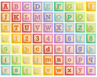 Colorful Alphabet Block Clipart - A to Z Clip Art - Study Letter - Free SVG on Request
