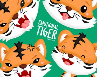 Emotional Tiger Clipart - Cute Animal Clip Art - Wild Animal - Free SVG on Request