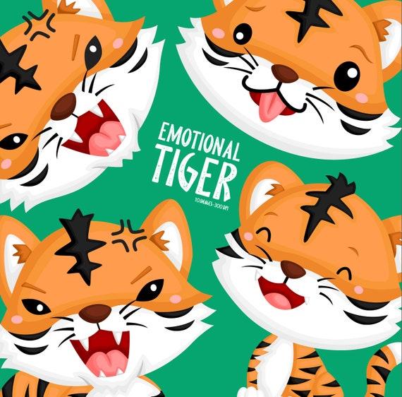 Emotional Tiger Clipart Cute Animal Clip Art Wild Animal Etsy