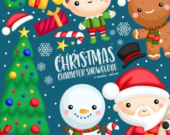 Christmas Character Clipart - Snow Globe Clip Art - Holiday Clipart - Free SVG on Request