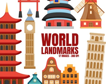 World Landmark Clipart - Famous Building Clip Art - Countries and Nation - Free SVG on Request
