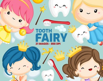 Tooth Fairy Clipart - Cute Fairy Clip Art - Kids Story - Free SVG on Request