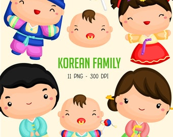 Korean Family Clipart - Cute Family Clip Art - Culture and Tradition - Free SVG on Request