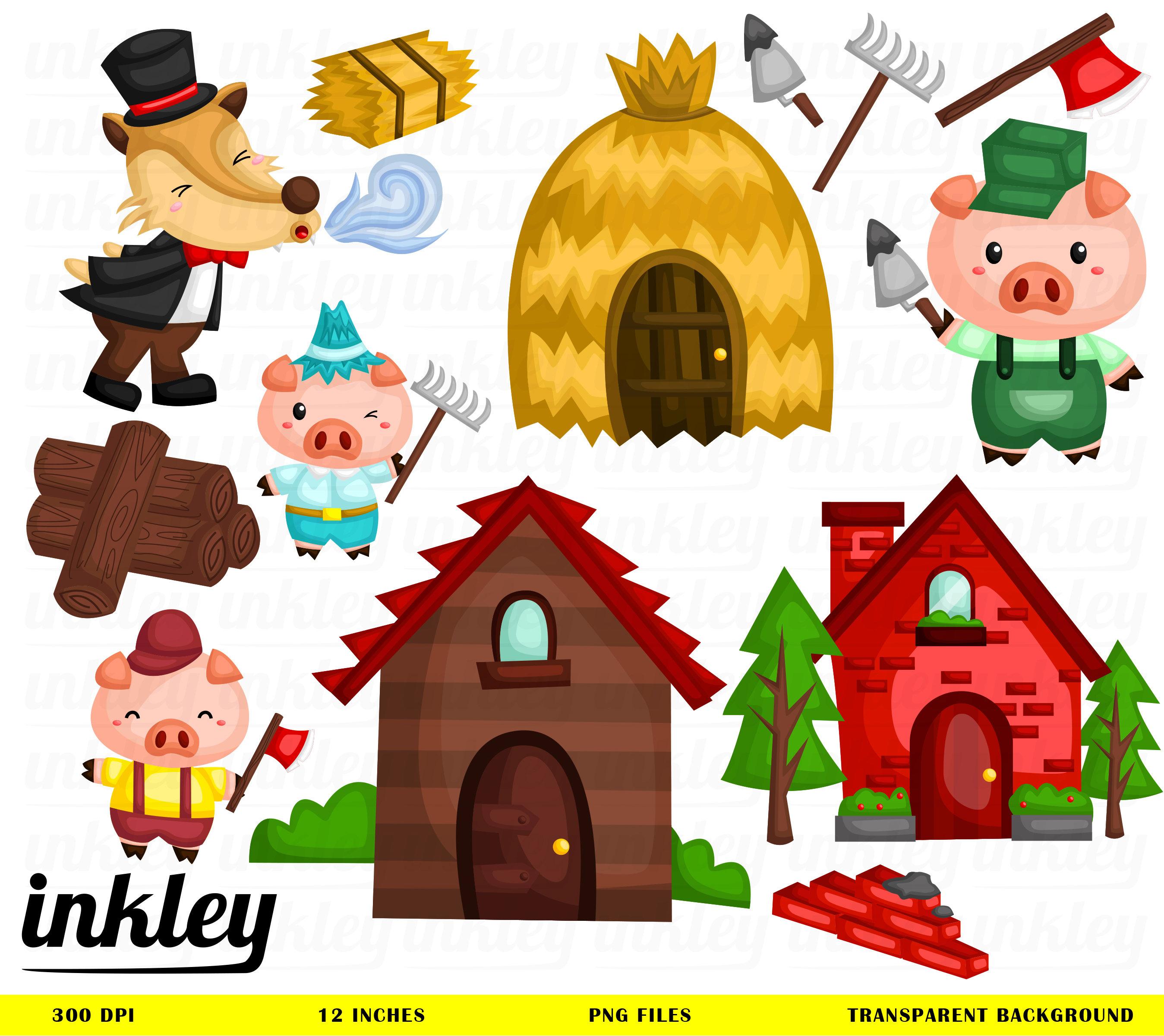 Die drei kleinen Schweinchen Clipart drei kleinen | Etsy