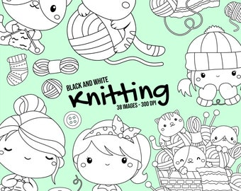 Knitting Clipart - Cute Cat Clipart - Black and White Clipart - Free SVG on Request