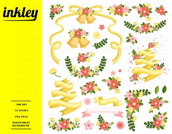 Wedding Flower Clipart Yellow Flower Clip Art Flower Png Etsy