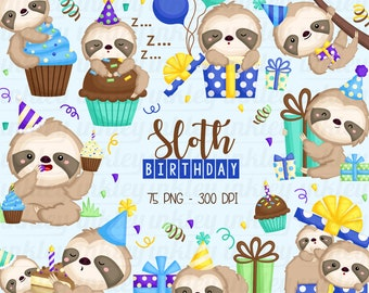 Birthday Sloth Clipart - Cute Sloth Clip Art - Birthday Party Clipart - Free SVG on Request