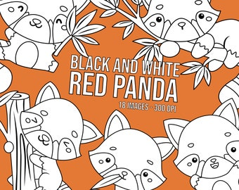 Red Panda Clipart - Cute Animal Clip Art - Black and White -  Free SVG on Request