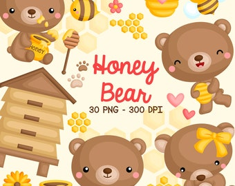 Honey Bear Clipart - Cute Animal Clip Art - Bee and Bear - Free SVG on Request
