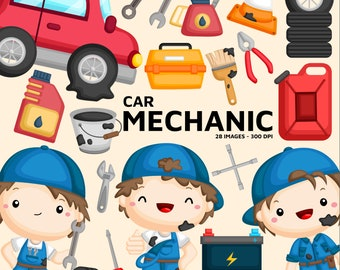 Car Mechanic Clipart - Job and Occupation Clip Art - Tools and Object - Free SVG on Request
