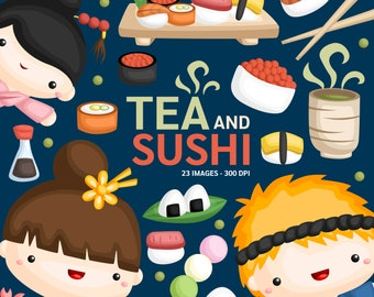 Japan and Sushi Clipart - Cute Sushi Food Clip Art - Kimono - Free SVG on Request