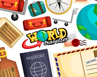 World Travel Clipart - Travelling Equipment Clip Art - Sightseeing - Free SVG on Request