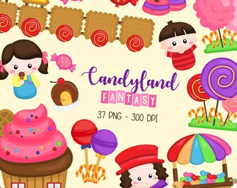 Candyland Fantasy Clipart - Sweet and Snack Clip Art - Cute Kids - Free SVG on Request