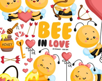 Cute Bee Clipart - Insect Clip Art - Valentine Love - Honey - Free SVG on Request
