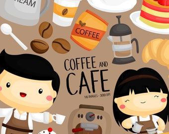 Coffee in Cafe Clipart - Barista Clip rt - Sweets and Snack Clipart - Free SVG on Request