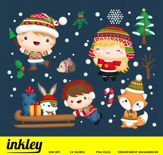 Kids In Winter Clipart Winter Clip Art Kids Png Snow Etsy