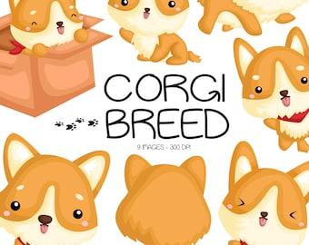 Cute Corgi Clipart - Dog Breed Clip Art - Cute Animal Clipart - Free SVG on Request