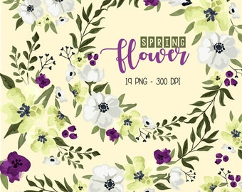 Spring Flower Clipart - Green Flower Clip Art - Floral Arrangement - Free SVG on Request