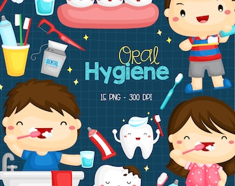 Oral Hygine Clipart - Brushing Tooth Clip Art - Cute Kids - Free SVG on Request