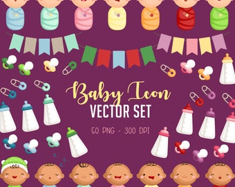 Cute Babies Clipart - Baby Icon Clip Art - Newborn Baby - Free SVG on Request