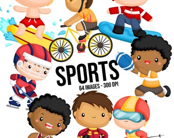 Sport and Boys Clipart - Cute Kids Clip Art - Sport and Balls -  Free SVG on Request