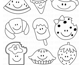 Summer Food Clipart - Black and White Clip Art - Digital Stamp - Free SVG on Request