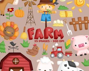 Farm Animal Clipart - Cute Animal Clipart - Farming Clip art - Free SVG on Request