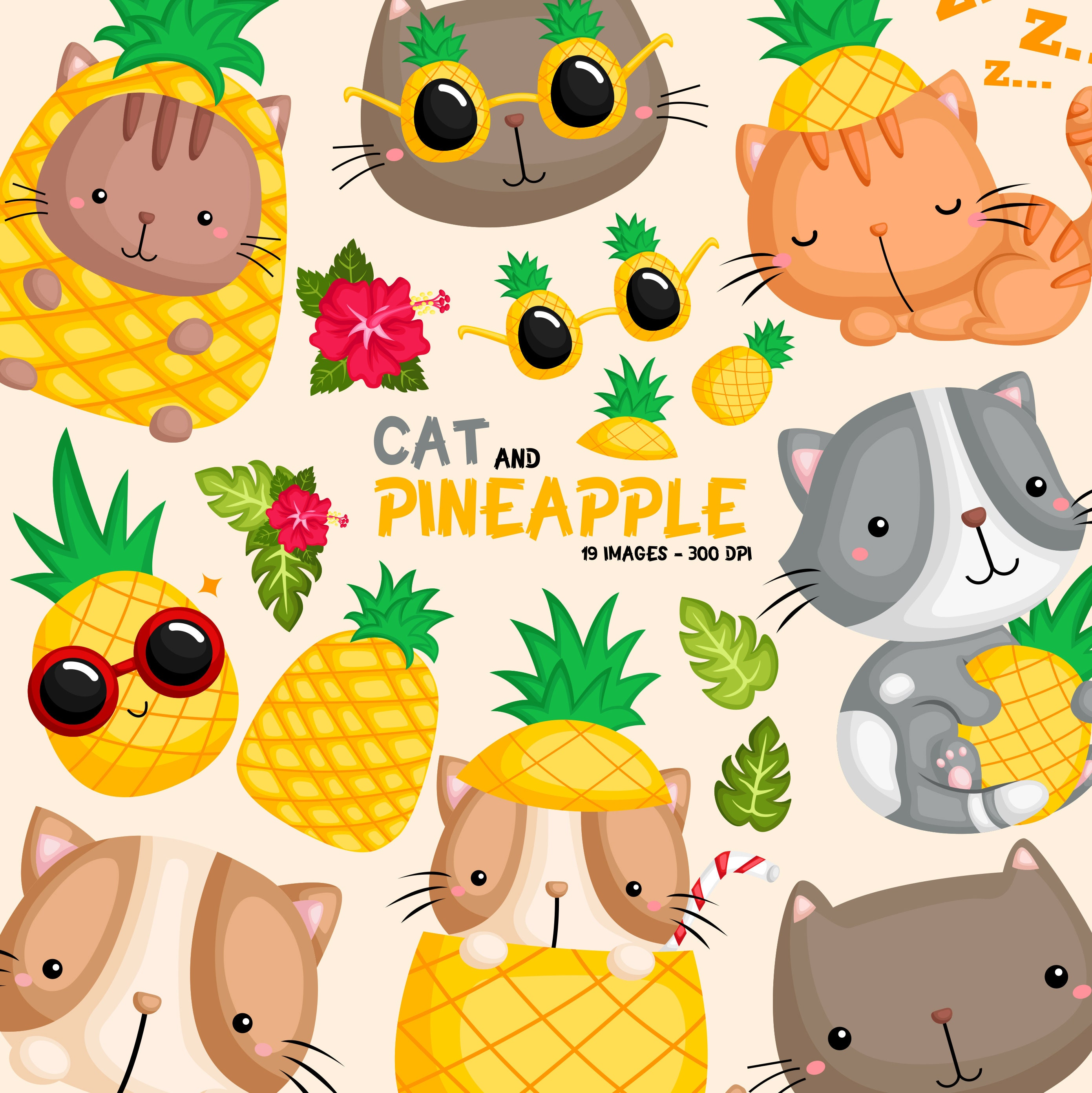Pineapple And Cat Clipart Cute Cat Clip Art Fruits And Food Free Svg On Request